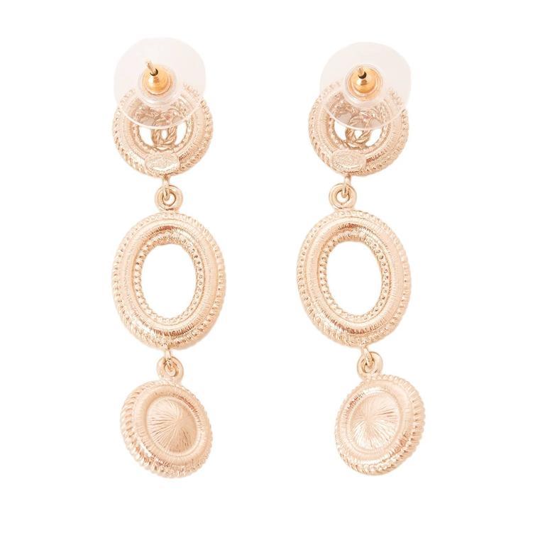 chanel light gold logo and pearl dangling pierced earrings
