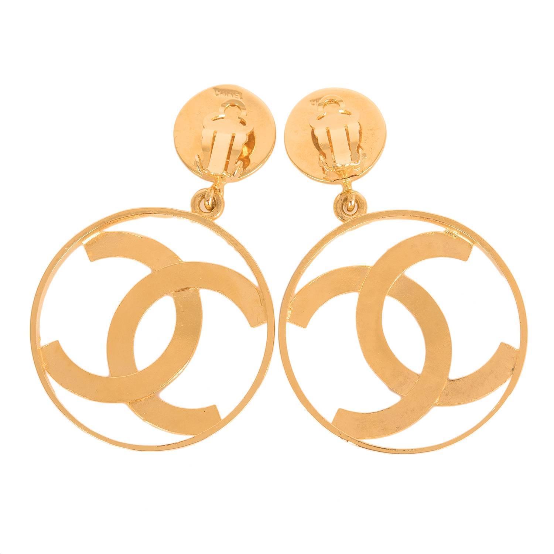 chanel large vintage cc logo hoop earrings at 1stdibs