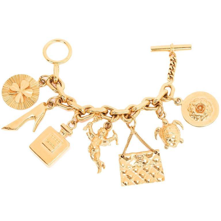 chanel vintage interwoven chain link charm bracelet at 1stdibs
