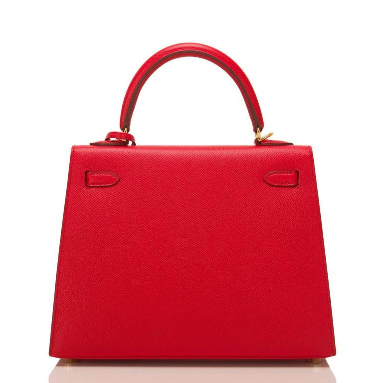 Red Hermes Rouge Casaque Epsom Sellier Kelly 25cm Gold Hardware For Sale