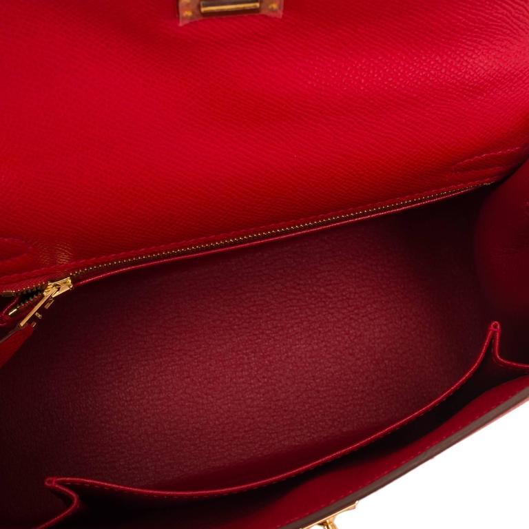 Hermes Rouge Casaque Epsom Sellier Kelly 25cm Gold Hardware For Sale 1