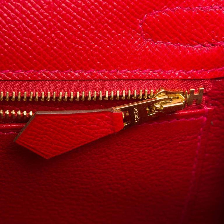 Hermes Rouge Casaque Epsom Sellier Kelly 25cm Gold Hardware For Sale 2