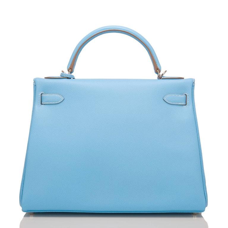 Blue Hermes Bi-color Celeste And Mykonos Epsom Retourne Candy Kelly 32cm For Sale