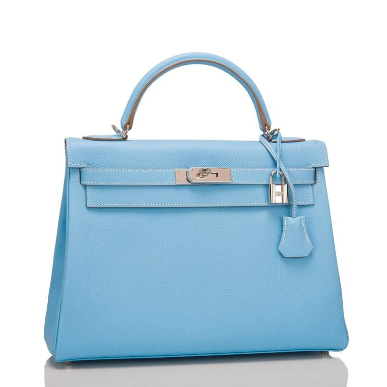 "Hermes Bi-Color Celeste Kelly 32cm from the limited edition ""Candy"" collection of epsom leather with palladium hardware.