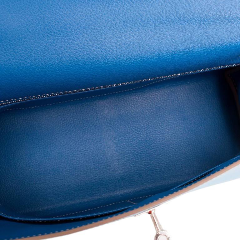 Hermes Bi-color Celeste And Mykonos Epsom Retourne Candy Kelly 32cm For Sale 1