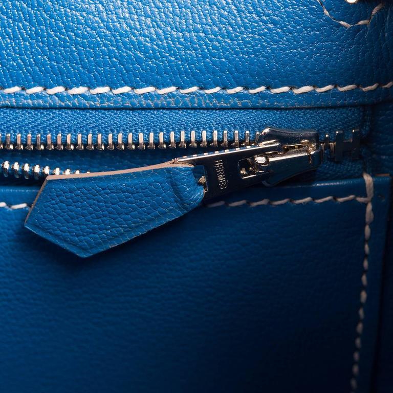 Hermes Bi-color Celeste And Mykonos Epsom Retourne Candy Kelly 32cm For Sale 2