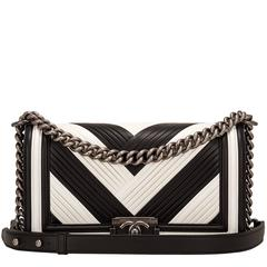 Chanel Paris In Rome Black and White Pleated Calfskin Medium Boy Bag