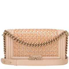Chanel Gold Lambskin And Patent Leather Medium Boy Bag