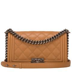 Chanel Camel Quilted Calfskin Medium Boy Bag