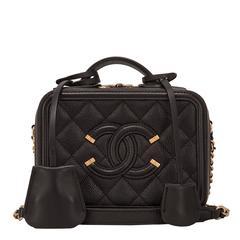 Chanel Black Caviar Mini Filigree Vanity Case