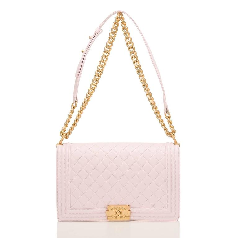 Women's Chanel Pink Quilted Lambskin New Medium Boy Bag For Sale