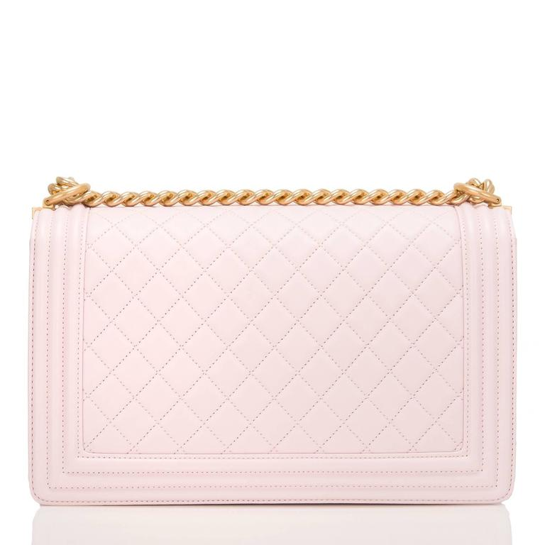 White Chanel Pink Quilted Lambskin New Medium Boy Bag For Sale
