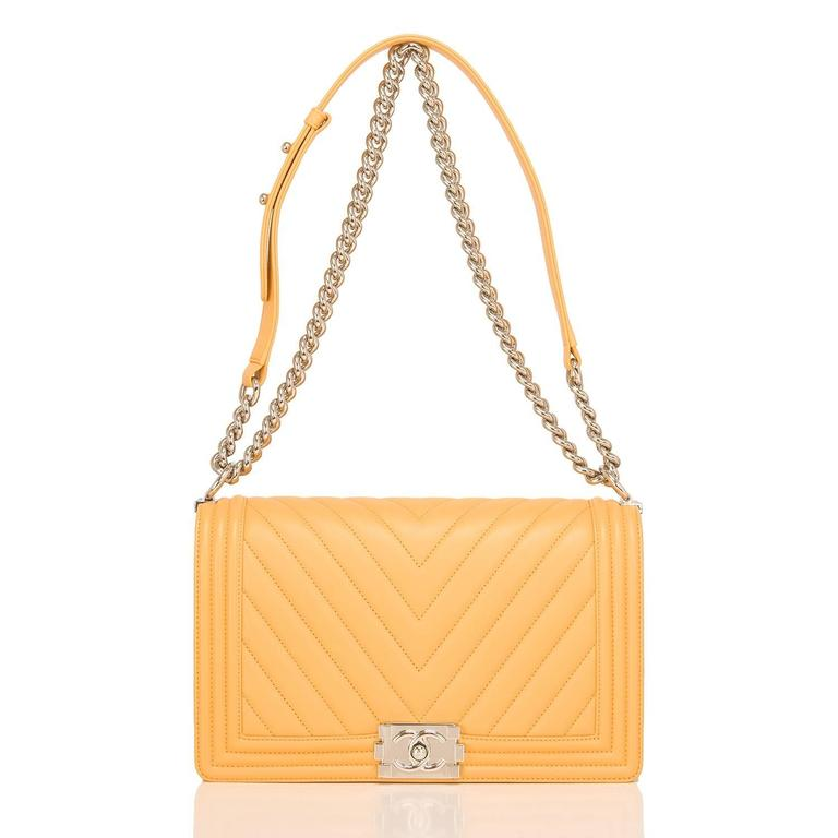 Chanel Yellow Chevron Quilted Lambskin New Medium Boy Bag For Sale 1