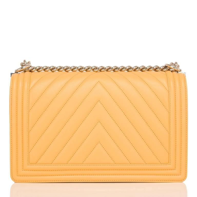 Chanel Yellow Chevron Quilted Lambskin New Medium Boy Bag In New never worn Condition For Sale In New York, NY