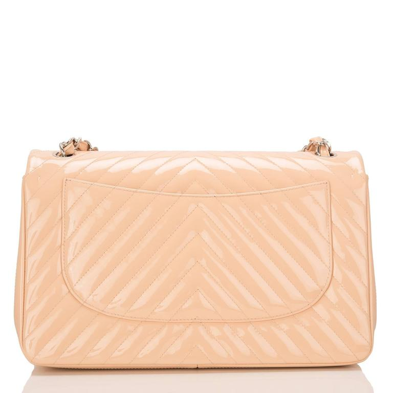 Orange Chanel Beige Patent Chevron Jumbo Classic Double Flap Bag For Sale