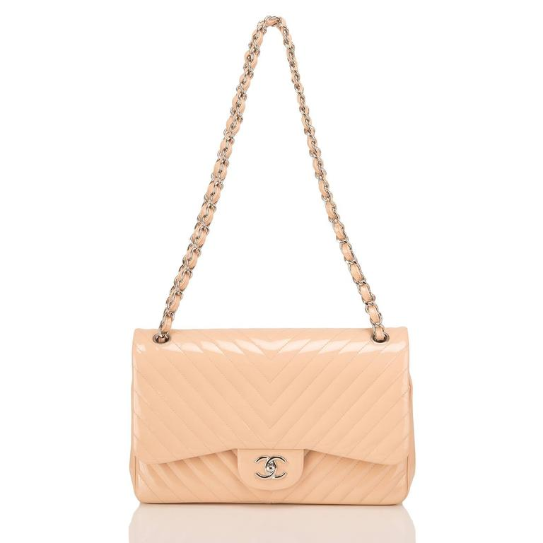 Women's Chanel Beige Patent Chevron Jumbo Classic Double Flap Bag For Sale