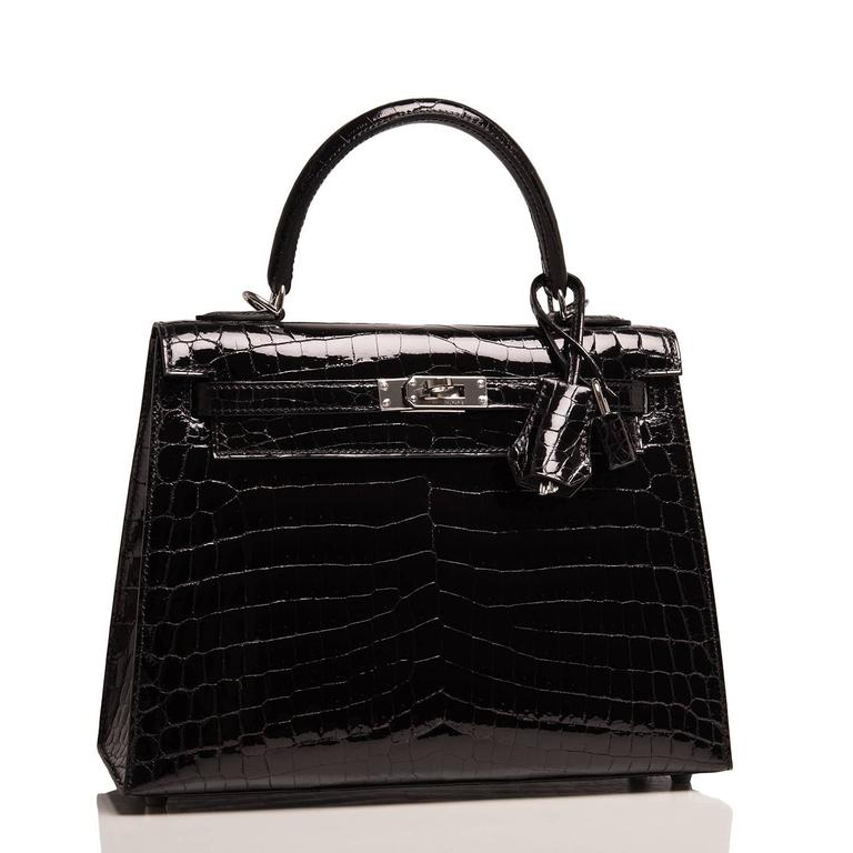 Hermes Black Shiny Niloticus Crocodile Kelly Sellier 25cm with palladium hardware.