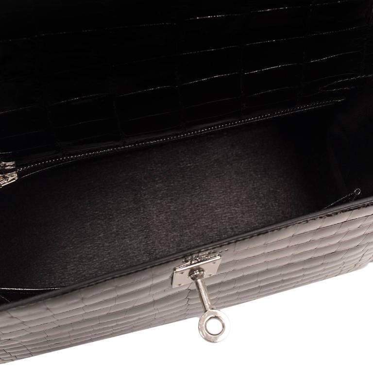 Hermes Black Shiny Niloticus Crocodile Kelly Sellier 25cm For Sale 2