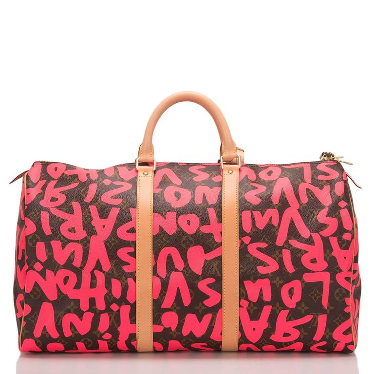 Louis Vuitton Pink Monogram Graffiti Keepall 50 In New never worn Condition For Sale In New York, NY