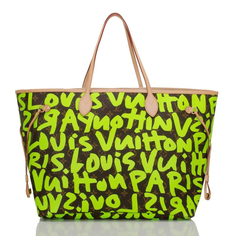 Louis Vuitton Green Graffiti Neverfull GM In New Never_worn Condition For Sale In New York, NY
