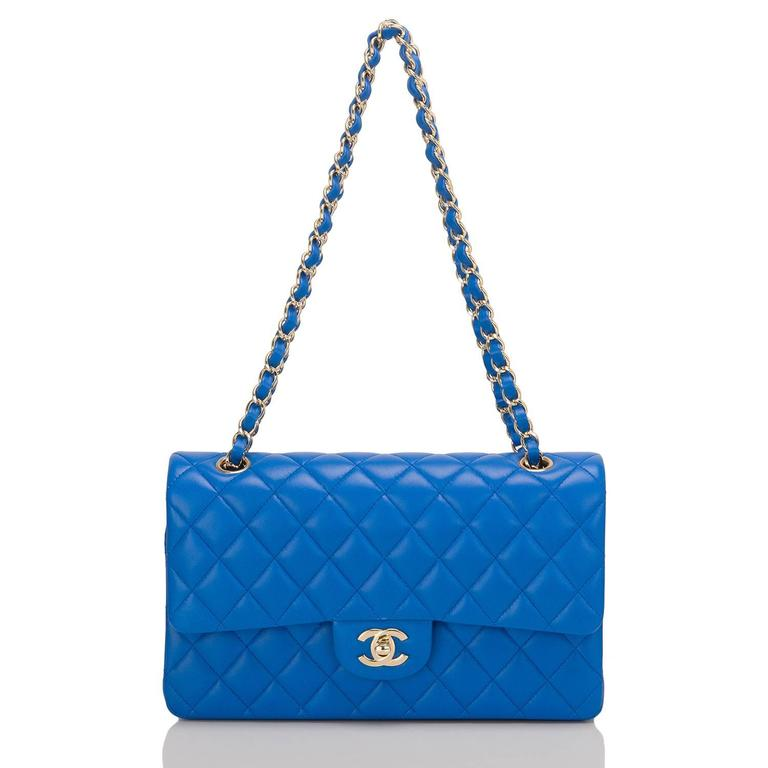 Chanel Blue Quilted Lambskin Medium Double Flap Bag For Sale 1