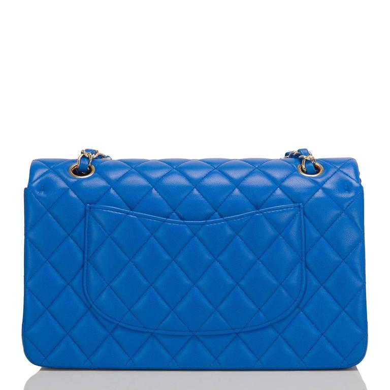 Chanel Blue Quilted Lambskin Medium Double Flap Bag In New never worn Condition For Sale In New York, NY