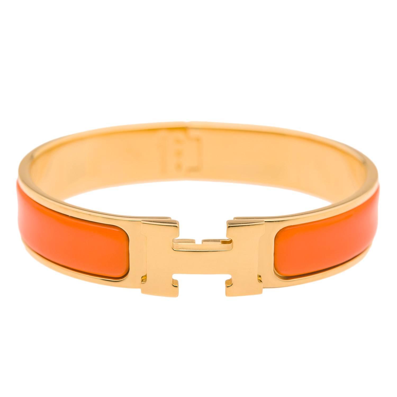 hermes orange clic clac h narrow enamel bracelet pm at 1stdibs