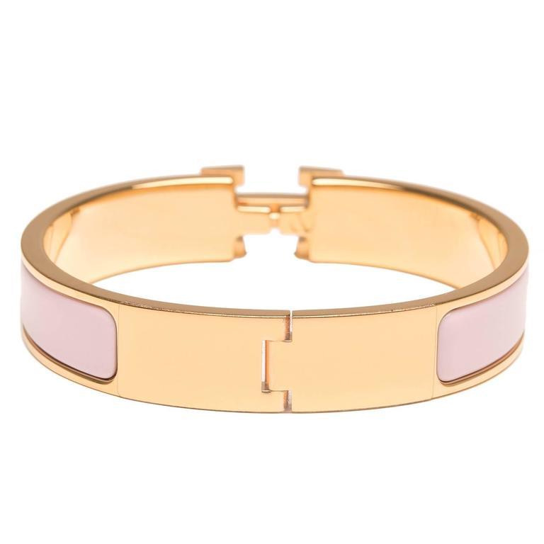 Hermes rose dragee clic clac h narrow enamel bracelet pm for Housse clic clac new york
