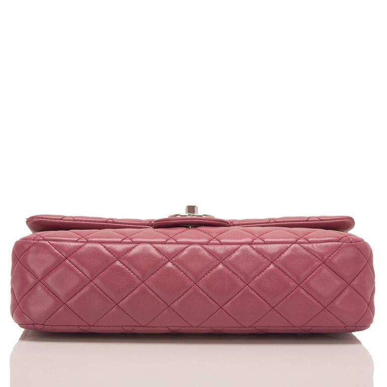 Chanel Rose Fonce Lambskin Medium Classic Double Flap Bag In Excellent Condition For Sale In New York, NY