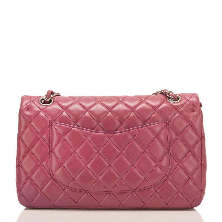 Pink Chanel Rose Fonce Lambskin Medium Classic Double Flap Bag For Sale