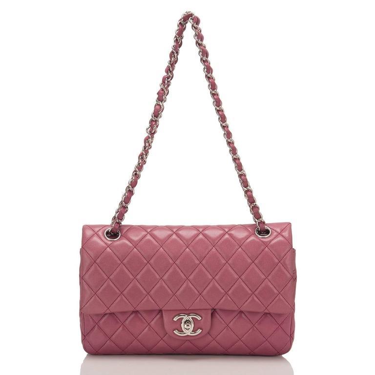 Women's Chanel Rose Fonce Lambskin Medium Classic Double Flap Bag For Sale