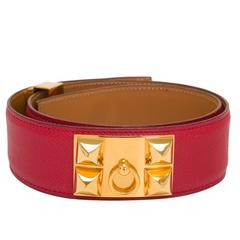 Hermes Vintage Rouge Vif Leather Collier De Chien Medor Belt 70cm