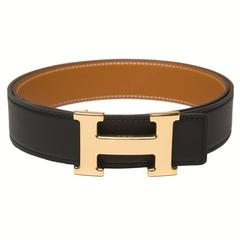 Hermes 32mm Reversible Black/Gold Leather Constance H Belt 90cm