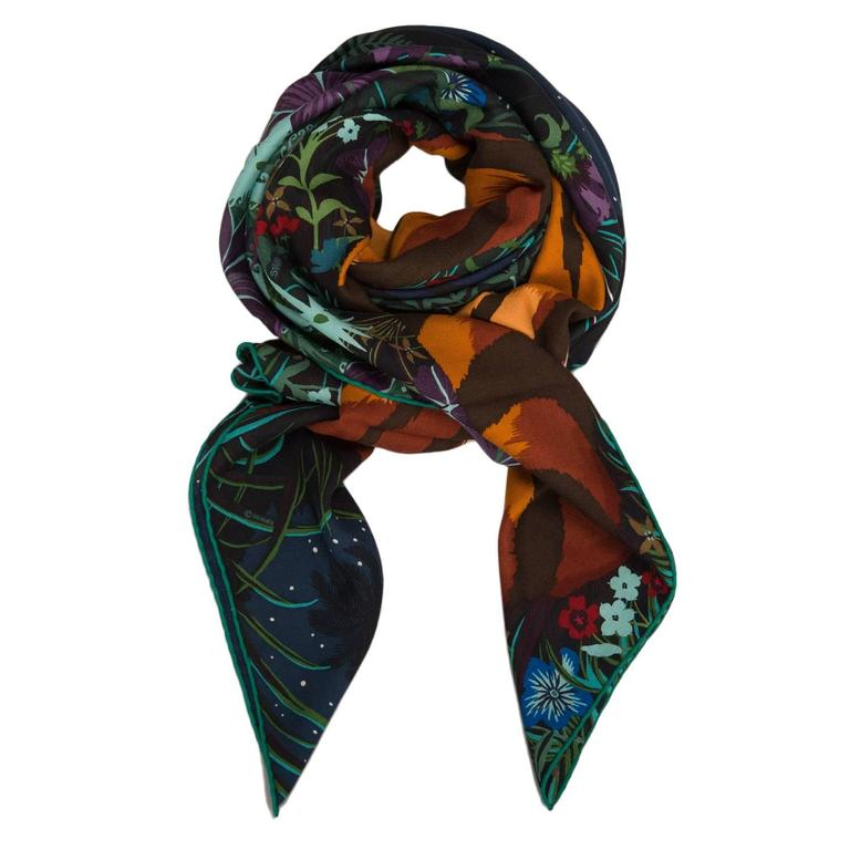 """Black Hermes """"Tyger Tyger"""" Cashmere and Silk Shawl 140cm For Sale"""