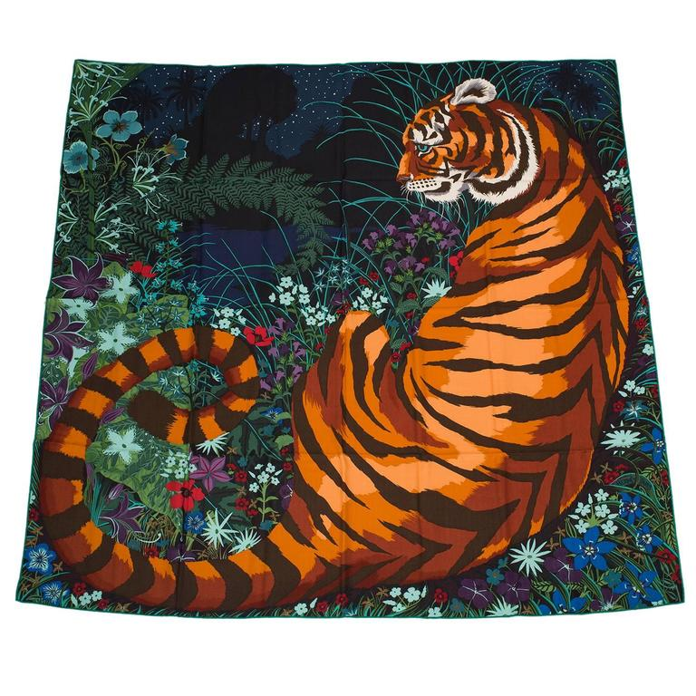 """Hermes """"Tyger Tyger"""" Cashmere and Silk Shawl 140cm For Sale"""
