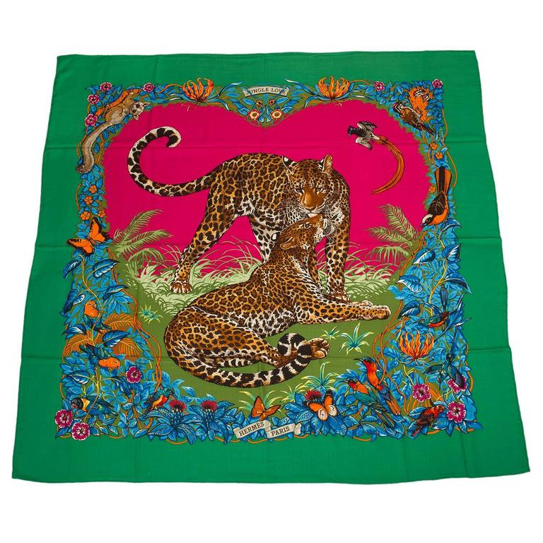 """Hermes """"Jungle Love"""" Cashmere and Silk Shawl 140cm For Sale"""