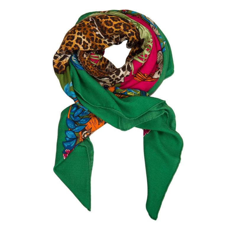 """Blue Hermes """"Jungle Love"""" Cashmere and Silk Shawl 140cm For Sale"""