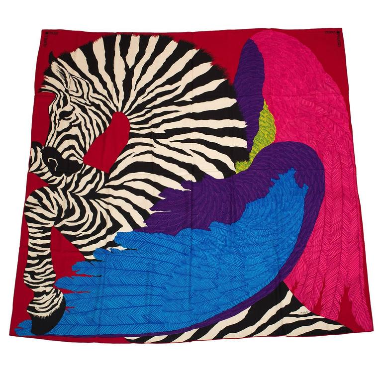 "Hermes ""Zebra Pegasus"" Cashmere and Silk Shawl 140cm For Sale"