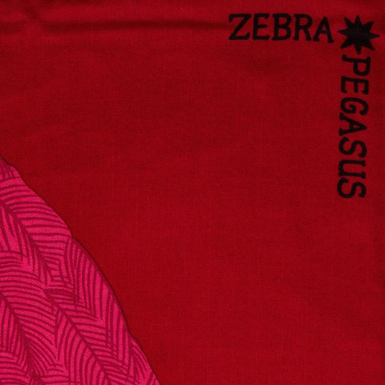 "Hermes ""Zebra Pegasus"" cashmere and silk shawl by Alice Shirley in a dark pink colorway.