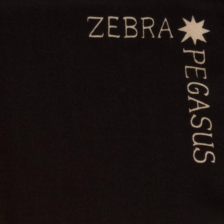 """Hermes """"Zebra Pegasus"""" cashmere and silk shawl by Alice Shirley in a black colorway.  Fabric: 65% cashmere, 35% silk  Origin: France  Condition: Pristine, never worn  Accompanied by: Box, caretag, and ribbon  Size: 140cm (55"""" square)"""