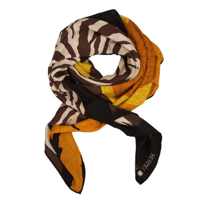 "Orange Hermes ""Zebra Pegasus"" Cashmere and Silk Shawl 140cm For Sale"