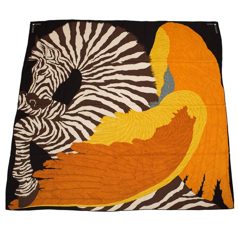 "Hermes ""Zebra Pegasus"" Cashmere and Silk Shawl 140cm For Sale"