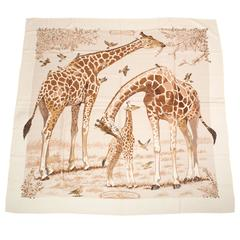 "Hermes ""Les Girafes"" Cashmere and Silk Shawl 140cm"