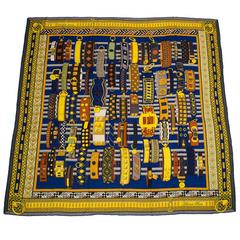"Hermes ""Colliers de Chiens"" Cashmere and Silk Shawl 140cm"