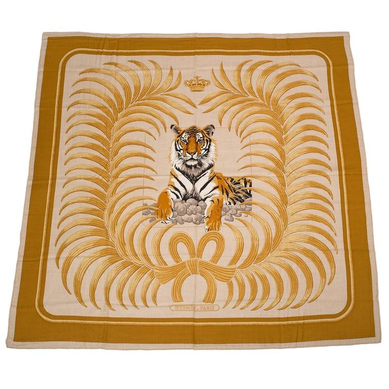 Hermes Quot Tiger Royal Quot Cashmere And Silk Shawl 140cm At 1stdibs
