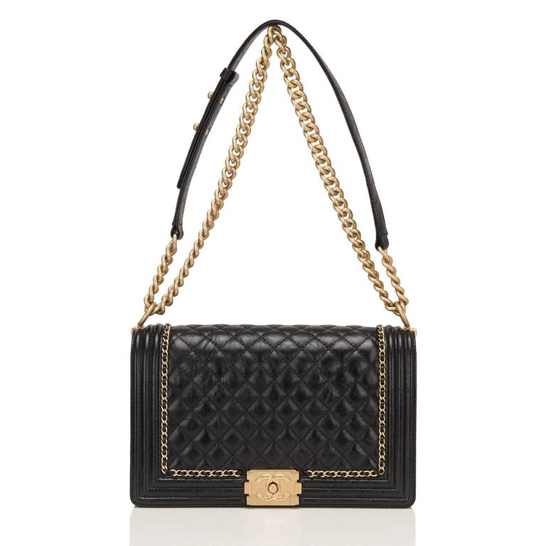 "Chanel Black Calfskin New Medium ""Jacket"" Boy Bag For Sale 2"