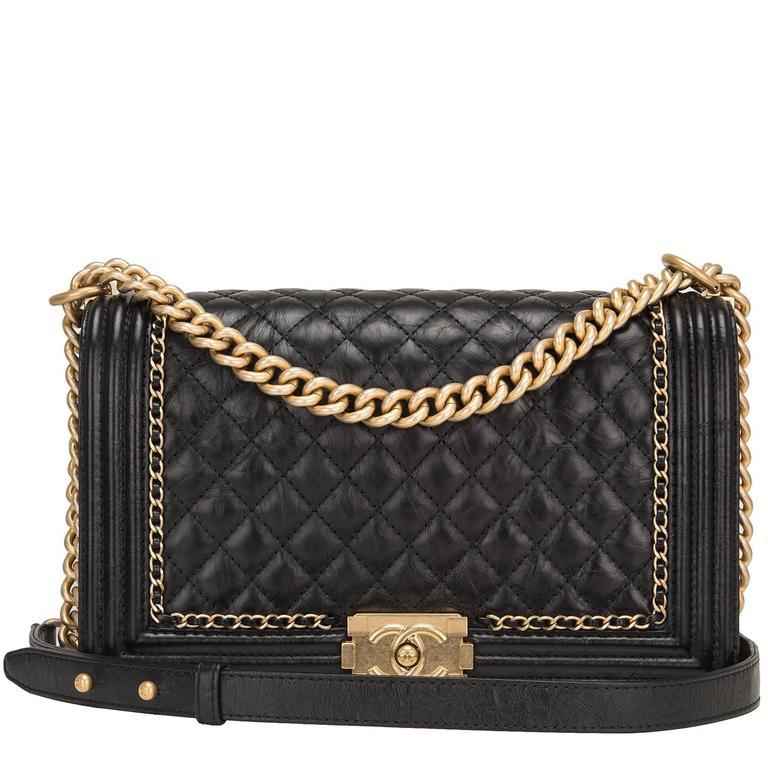 "Chanel Black Calfskin New Medium ""Jacket"" Boy Bag For Sale"