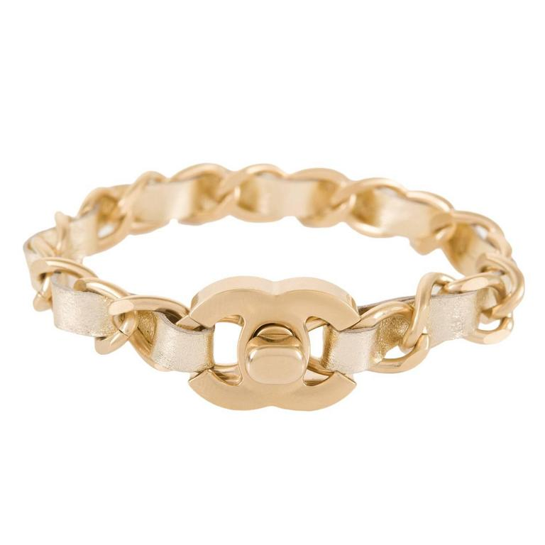 Chanel Gold Interwoven Leather And Chain CC Turnlock Bracelet For Sale