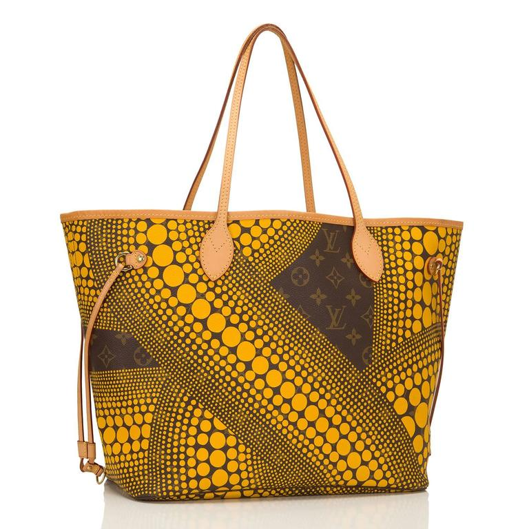 Louis Vuitton Yellow Monogram Waves Neverfull MM tote designed by Yayoi Kusama of coated canvas.