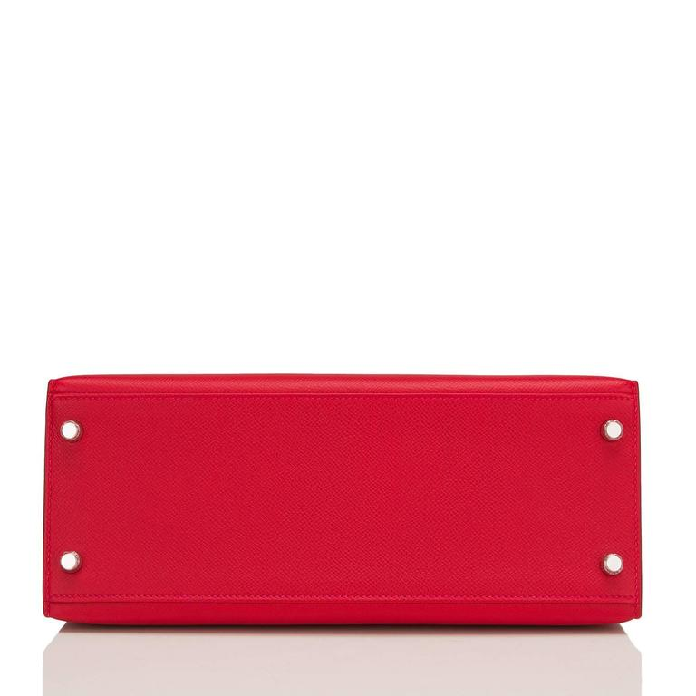 Women's Hermes Rouge Casaque Epsom Sellier Kelly 28cm Palladium Hardware For Sale
